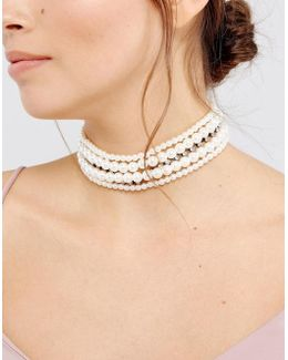 Occasion Faux Pearl & Jewel Choker Necklace