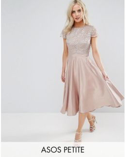 Lace Metallic Crop Top Midi Skater Dress