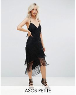 Fringe Mesh Strappy Midi Bodycon Dress