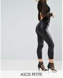 Corset Waist Cropped Leather Look Leggings