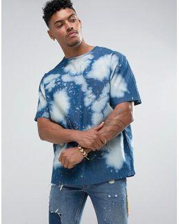 T-shirt In Bleached Denim
