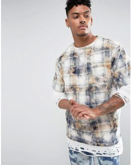 T-shirt In Check Tie Dye With Bleaching