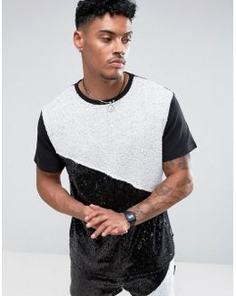 T-shirt In Black Sequins
