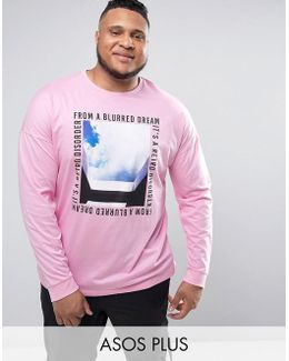 Plus Oversized Long Sleeve T-shirt With Photo Print