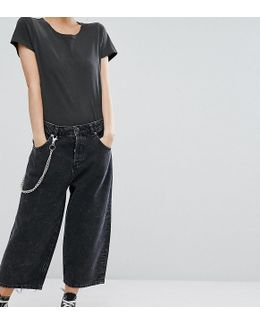 Petite Crop Cargo Jeans In Extreme Black Acid Wash With Pocket Chain