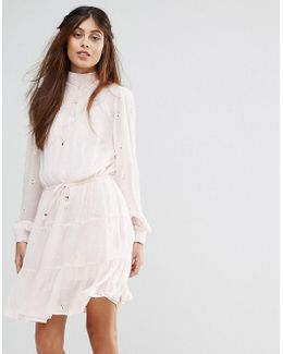 High Broderie Detail Tiered Smock Dress