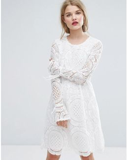 Premium Cutwork Lace Fluted Sleeve Smock Dress