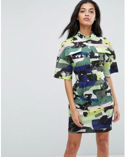 Utility Dress In Camo Print