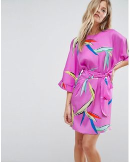Belted Dress In Bright Abstract Floral