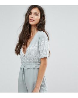 Frill Waist Embroidered Romper