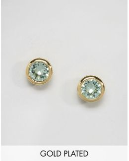 Sinaa Gold And Mint Crystal Stud Earrings
