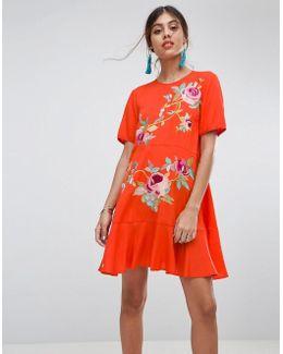 Premium Embroidered Drop Waist Dress