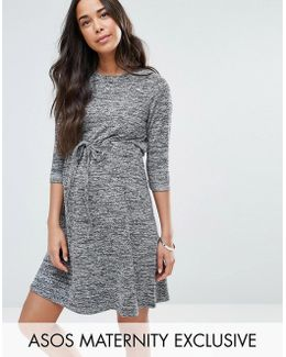 Lounge Dress With Drawstring Waist In Marl