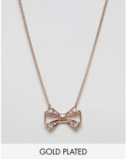 Jewelled Bow Pendant Necklace