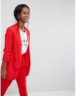 Mix & Match Blazer With Rouched Sleeve