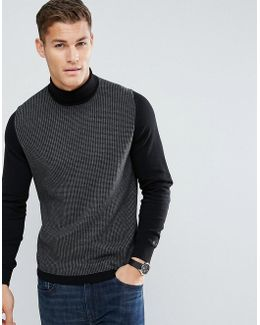 Roll Neck Dog Tooth Sweater