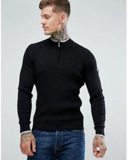 Zipped High Neck Sweater