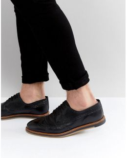 Brogue Shoes In Black Leather With Wedge Sole