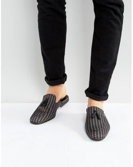 Mules In Geo Textile With Tassel