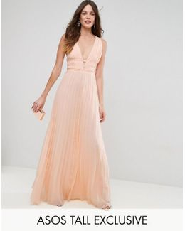 Plunge Strap Detail Pleated Maxi Dress