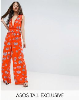 Floral Wide Leg Beach Jumpsuit