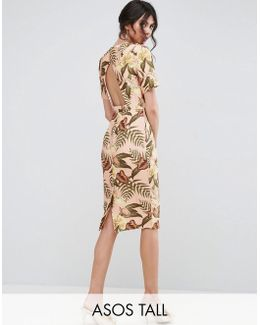 Wiggle Dress With Open Back In Tropical Print