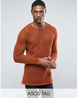 Tall Longline Knitted Textured Mesh Jumper In Rust