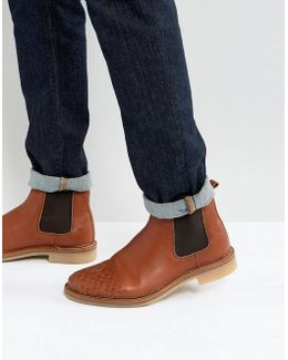 Chelsea Boots With Weave Detail In Tan Leather