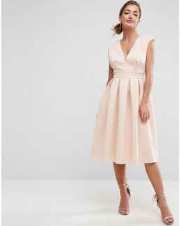 Scuba Deep Plunge Prom Midi Dress