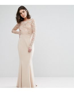 Allover Scallop Lace Top Maxi Dress With Open Bow Back