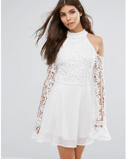 Cut Out Shoulder Lace Detail Skater Dress