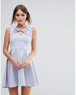 Pleated Skater Dress With Twist Detail