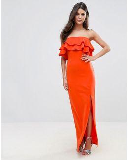 Bandeau Frill Maxi Dress With Ruffle Asymetric Split