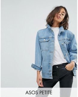 Petite Denim Girlfriend Jacket In Tansy Mid Stonewash Blue