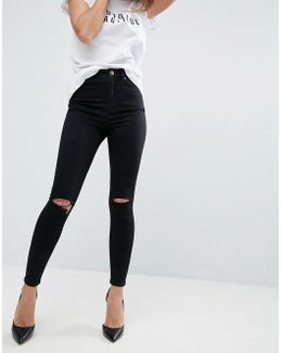 Ridley Skinny Jeans In Clean Black With Rips