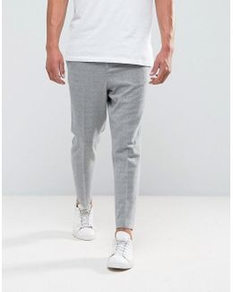 Tapered Smart Trouser In Light Grey Texture With Elasticated Back