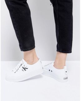 Zolah White Canvas Flatform Trainers
