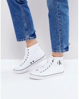 Dolores White Canvas High Top Sneakers