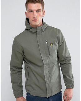 Hooded Curved Hem Jacket Green