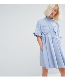 Oversized T-shirt Dress With Frilly Hearts