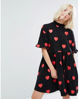 Mini T-shirt Dress In All Over Heart Spots And Frilly Hems