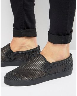 Slip On Sneakers In Black With Perforated Panelling