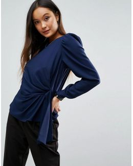 Long Sleeve Blouse With Origami Detail