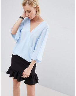 Drape Wrap Top With Fluted Sleeves
