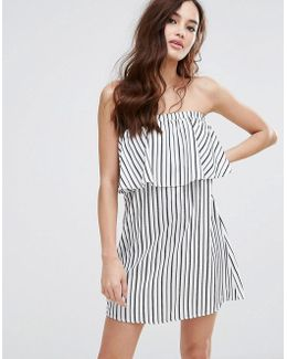 Bandeau Dress In Stripe