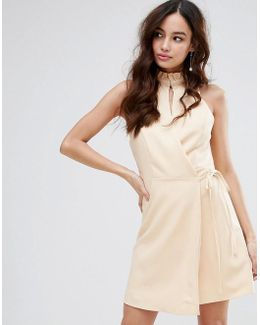 Wrap Dress With High Neck