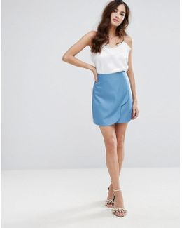 Wrap Front Mini Skirt With Scallop