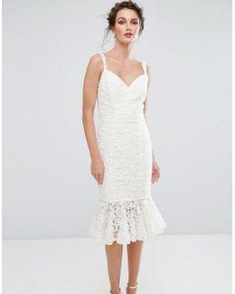 Lace Pencil Dress With Frill Hem