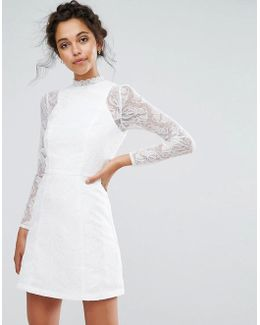Lace A Line Mini Dress With Long Sleeves