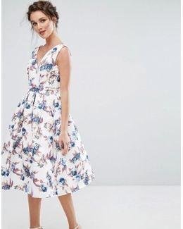 Midi Dress With V Neck And Full Circle Skirt